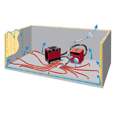Drucktrocknung und Entfeuchtung geschichteter Konstruktionen